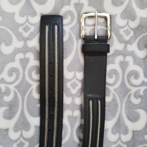 "Leather Belt, Black, zipper detail, Large, 36""-38"""